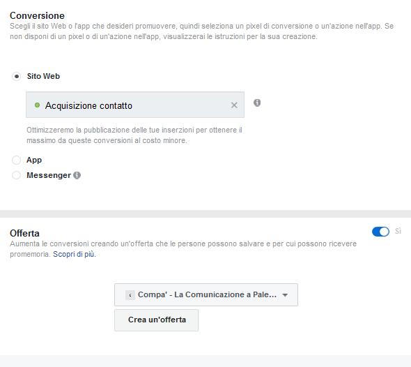 Impostazioni Conversione e Offerta Facebook Ads