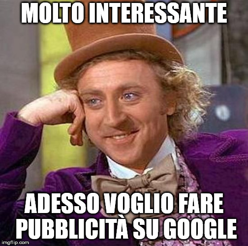 meme Willy Wonka su Google Ads