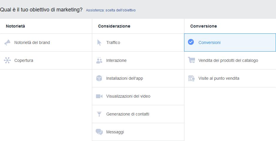 Impostazione obiettivi Facebook Ads