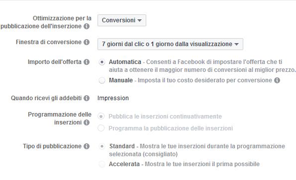 Impostazioni sull'offerta per le inserzioni Facebook Ads