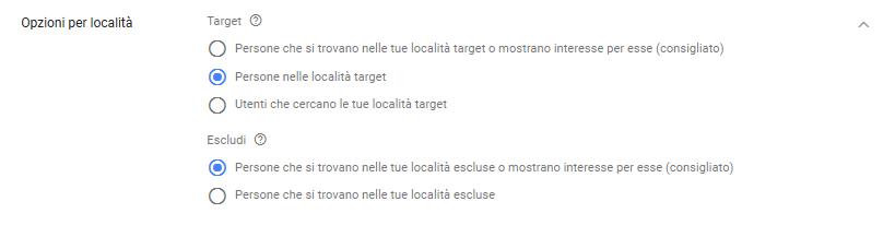 Opzioni di targeting geografico