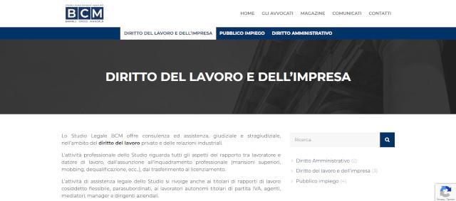 Pagina dello Studio Legale BCM sul servizio di assistenza legale sul diritto del lavoro