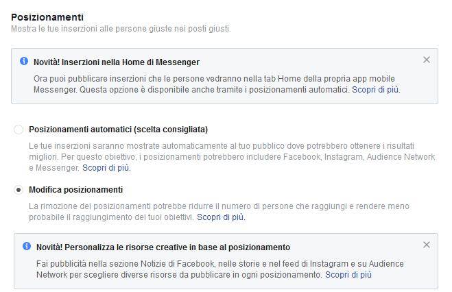 posizionamenti Facebook automatici e personalizzati