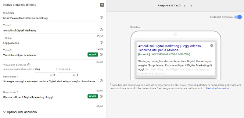 Prova di annuncio su Google Ads