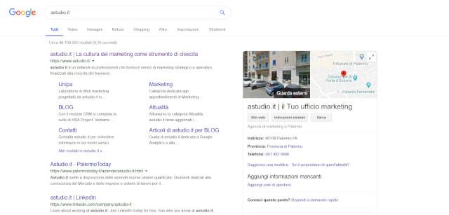 """Query di ricerca """"astudio.it"""" con attività verificata"""