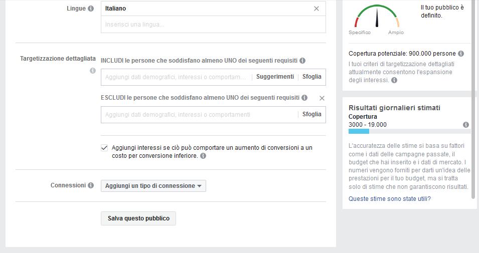 Targetizzazione pubblico su Facebook Ads