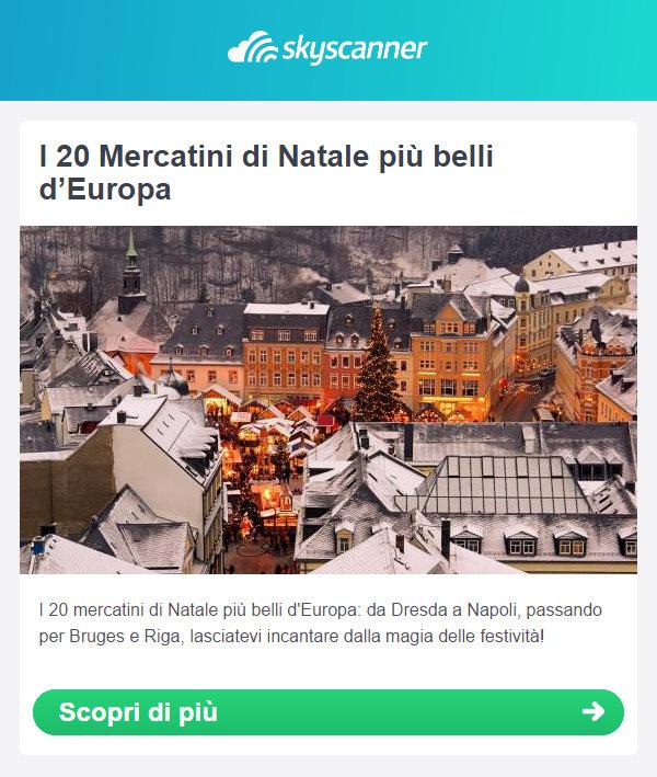 esempio newsletter natalizia di skyscanner