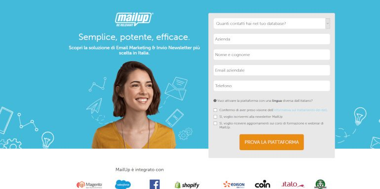 Landing Page di Mail Up