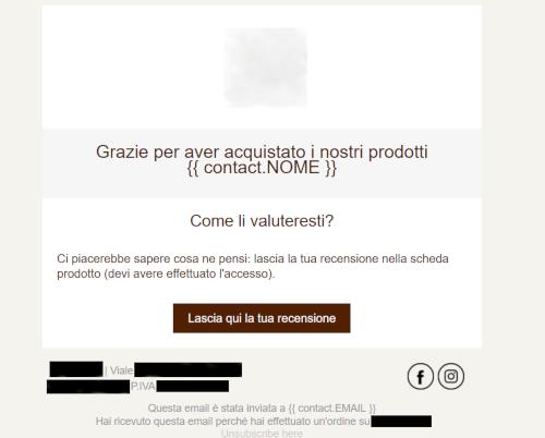 esempio di email automatica relativa a una richiesta di recensione per un cliente