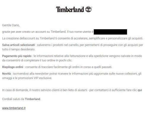 esempio di email transazionale di timberland