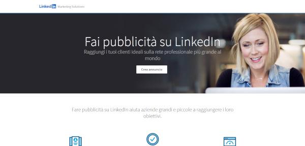 schermata iniziale di LinkedIn Ads
