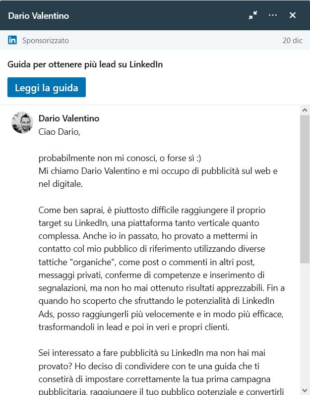 Prova di messaggio InMail su LinkedIn