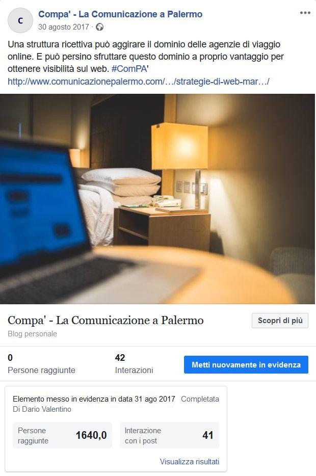 Post sponsorizzato con il coupon pubblicitario di Facebook