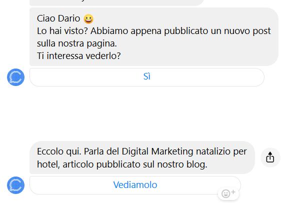 Esempio di chatbot per invio post della pagina su Messenger.