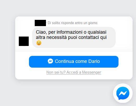 Schermata di esempio di plugin di Messenger su Sito Web