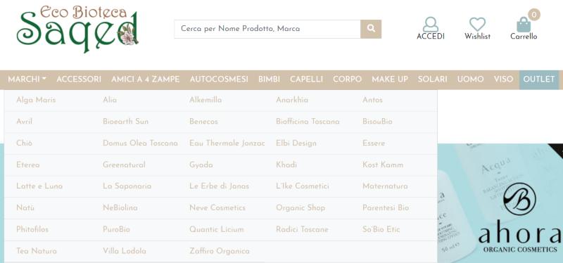 Esempio di categorie inserite in un menù di un e-commerce.