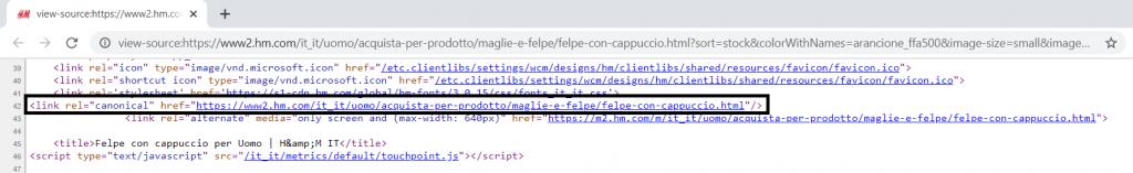Il Rel Canonical su una pagina dell'e-commerce di H&M.